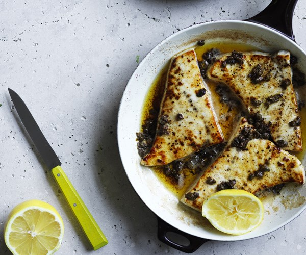 """[Pan-fried swordfish with lemon-caper butter and salted potatoes](https://www.gourmettraveller.com.au/recipes/fast-recipes/pan-fried-swordfish-with-lemon-caper-butter-and-salted-potatoes-16485