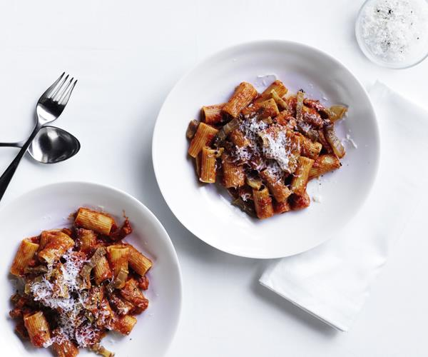 "[Rigatoni all'Amatriciana (Rigatoni with tomato sauce, guanciale and Pecorino Romano)](https://www.gourmettraveller.com.au/recipes/chefs-recipes/rigatoni-allamatriciana-16488|target=""_blank"")   ""Amatriciana is a great Roman classic, but there's no one recipe; everyone has their own spin on it,"" says Cicolini. ""Like Sora Lella, the late and legendary Roman chef, I use a touch of vinegar. This trick, along with the short cooking time for the sauce, keeps it light and pleasantly acidic. I finish the dish with some crisp guanciale for a contrast of texture."""