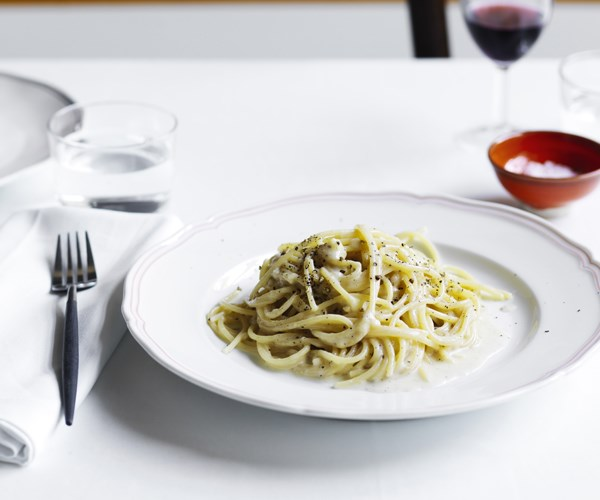 "[Spaghettoni con cacio e pepe](https://www.gourmettraveller.com.au/recipes/chefs-recipes/spaghettoni-con-cacio-e-pepe-16491|target=""_blank"")   ""This classic Roman pasta dish was traditionally prepared by peasants and shepherds who made pasta in the morning, dusted it with salted sheep's cheese, and wrapped it up to eat with their hands in the fields at lunchtime,"" says Cicolini."