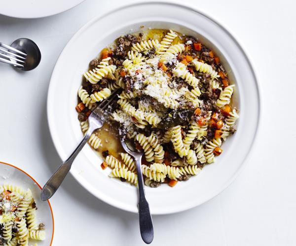 "[Fusilli con ragù di agnello (Fusilli with lamb ragu)](https://www.gourmettraveller.com.au/recipes/chefs-recipes/fusilli-lamb-ragu-16493|target=""_blank"")   ""In Abruzzo we eat a lot of lamb and mutton; it turns up roasted, stewed and simmered in sauces,"" says Cicolini. ""This dish riffs on this classic Abruzzese pasta accompaniment by adding a little lemon rind for fragrance and flavour, and the thyme evokes the wild herbs that the sheep encounter as they graze through the mountains."""
