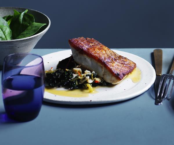 "**[Wild barramundi, cavolo nero and spanner crab](https://www.gourmettraveller.com.au/recipes/chefs-recipes/wild-barramundi-cavolo-nero-and-spanner-crab-16496 target=""_blank"")**"