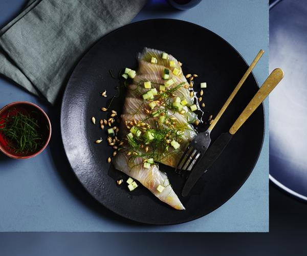 "[Guy Grossi's kingfish crudo](https://www.gourmettraveller.com.au/recipes/chefs-recipes/guy-grossis-kingfish-crudo-16497|target=""_blank"")"