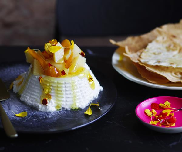"**[Jaci Koludrovic's ricotta with white poached quince and honey](https://www.gourmettraveller.com.au/recipes/chefs-recipes/ricotta-poached-quince-honey-16504|target=""_blank""