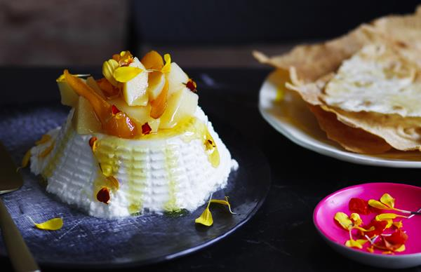 Ricotta with white poached quince and honey