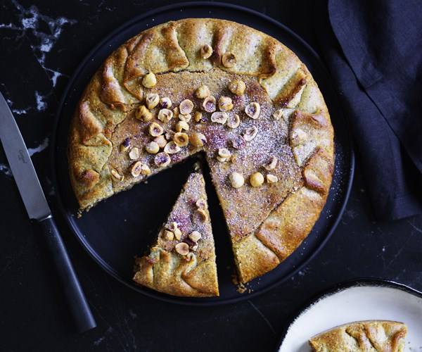 Caramelised Marsala pear crostata