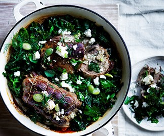 Roast lamb neck with kale, feta and dill