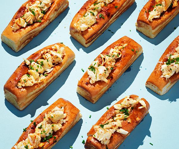 "**[Hot buttered lobster rolls](https://www.gourmettraveller.com.au/recipes/browse-all/hot-buttered-lobster-rolls-16355|target=""_blank"")**"