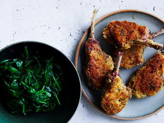 Crumbed lamb cutlets with wilted spinach