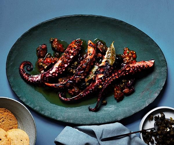 "[Guy Grossi's Gaeta-style octopus](https://www.gourmettraveller.com.au/recipes/chefs-recipes/gaeta-style-octopus-16499|target=""_blank"")"
