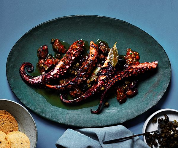 "[Guy Grossi's Gaeta-style octopus](https://www.gourmettraveller.com.au/recipes/chefs-recipes/gaeta-style-octopus-16499|target=""_blank"")"