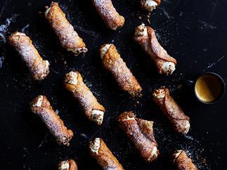 Roasted white chocolate and ricotta cannoli