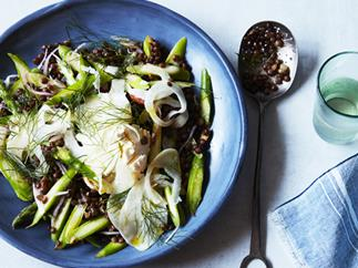 Green asparagus, lentil and labne salad