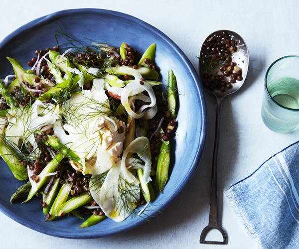 "**[Green asparagus, lentil and labne salad](https://www.gourmettraveller.com.au/recipes/fast-recipes/green-asparagus-lentil-and-labne-salad-16563|target=""_blank"")**"