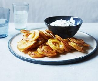 Onion and potato fritters with raita