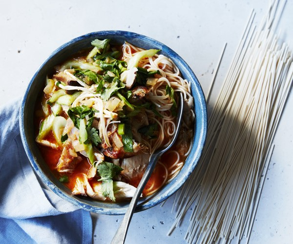Spicy roast chicken noodle soup