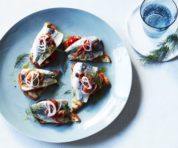 """[**Sardine toasts with agrodolce**](https://www.gourmettraveller.com.au/recipes/fast-recipes/sardine-toasts-with-agrodolce-16569 target=""""_blank"""")"""