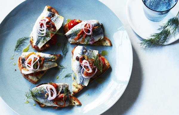 Sardine toasts with agrodolce