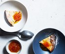 Baked ricotta pudding with mandarin, honey and chamomile compote