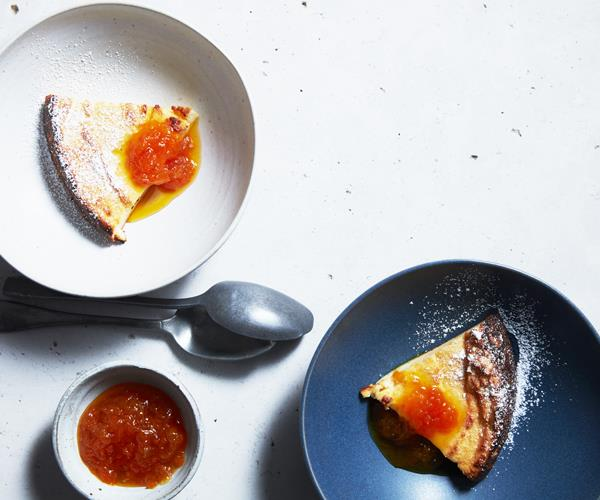 "**[Baked ricotta pudding with mandarin, honey and chamomile compote](https://www.gourmettraveller.com.au/recipes/fast-recipes/baked-ricotta-pudding-with-mandarin-honey-and-chamomile-compote-16570|target=""_blank""