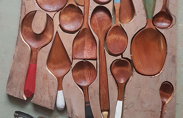 Phoenix Creations recycled timber spoons cut from an old kauri board