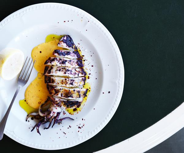 "**[Grilled squid with rouille and chilli](https://www.gourmettraveller.com.au/recipes/chefs-recipes/grilled-squid-with-rouille-and-chilli-16589|target=""_blank"")**"