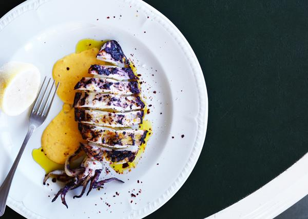 Grilled squid with rouille and chilli