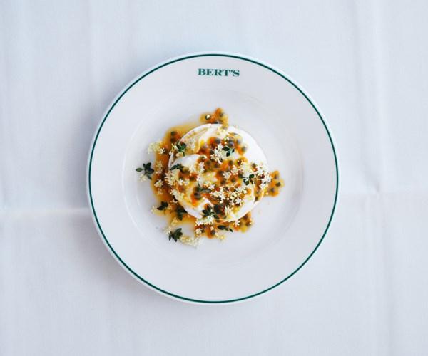 """[Jordan Toft's passionfruit and elderflower pavlova](https://www.gourmettraveller.com.au/recipes/chefs-recipes/passionfruit-and-elderflower-pavlova-16591 target=""""_blank"""")"""