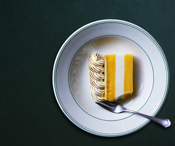 Mandarin and yoghurt frozen slice