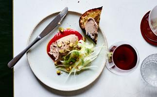 Duck liver pate with rhubarb compote and fennel salad