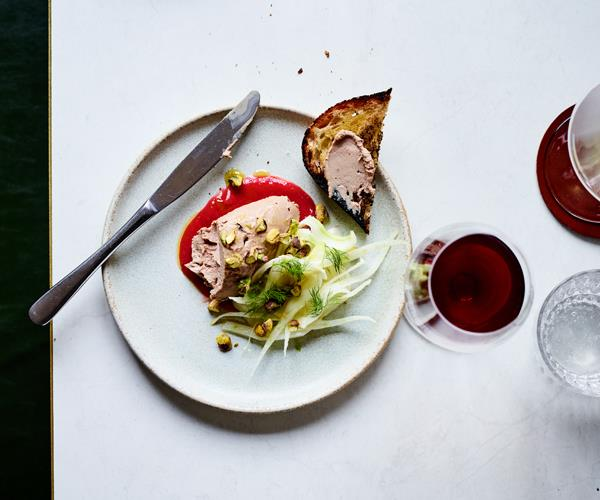 "[Duck liver pâté with rhubarb compote and fennel salad](https://www.gourmettraveller.com.au/recipes/chefs-recipes/duck-liver-pate-rhubarb-compote-fennel-salad-16593|target=""_blank"")  ""A rustic pâté, no temperature control or sous-vide required,"" says Couttoupes. ""It's all done with pans and a blender."""