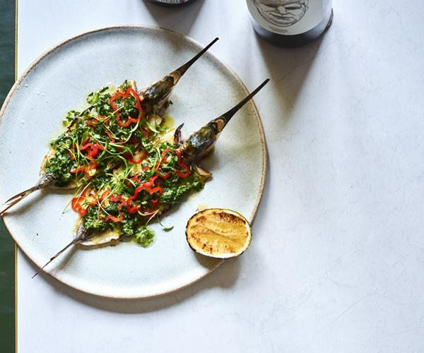 "**[Bar Rochford's garfish with sauce chien and habanero](https://www.gourmettraveller.com.au/recipes/chefs-recipes/garfish-sauce-chien-habanero-16598|target=""_blank"")**"