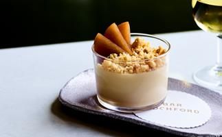 Hay panna cotta with chamomile pears and malt crumb