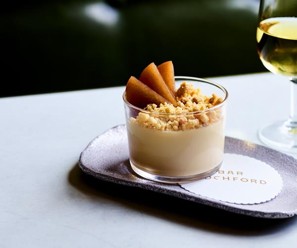 "**[Bar Rochford's hay panna cotta with chamomile pears and malt crumb](https://www.gourmettraveller.com.au/recipes/chefs-recipes/hay-panna-cotta-chamomile-pears-malt-crumb-16602|target=""_blank"")**"