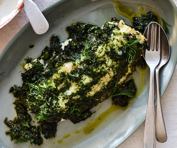 "**[Phil Wood's baked snapper with pistou](https://www.gourmettraveller.com.au/recipes/chefs-recipes/baked-snapper-pistou-16605|target=""_blank"")**"