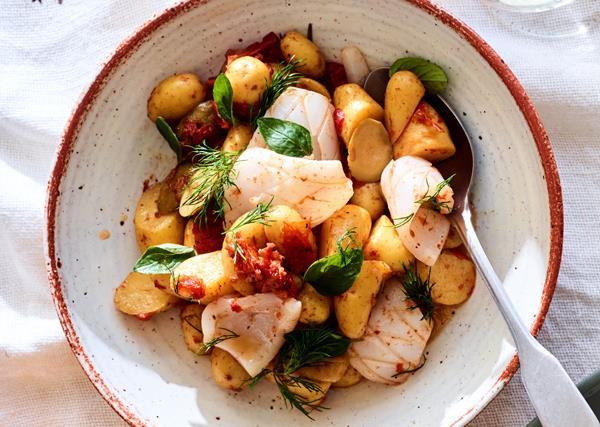 Kipfler potato and calamari Greek salad