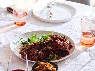 Lamb with roast-apple chutney