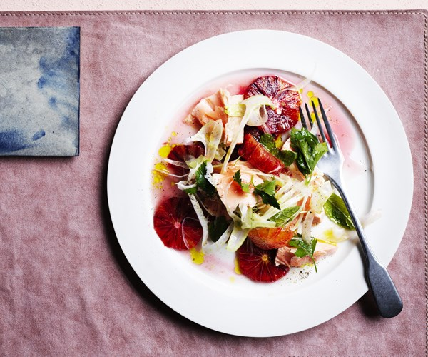 """[Flaked trout, blood orange and fennel salad](https://www.gourmettraveller.com.au/recipes/browse-all/flaked-trout-blood-orange-and-fennel-salad-16613
