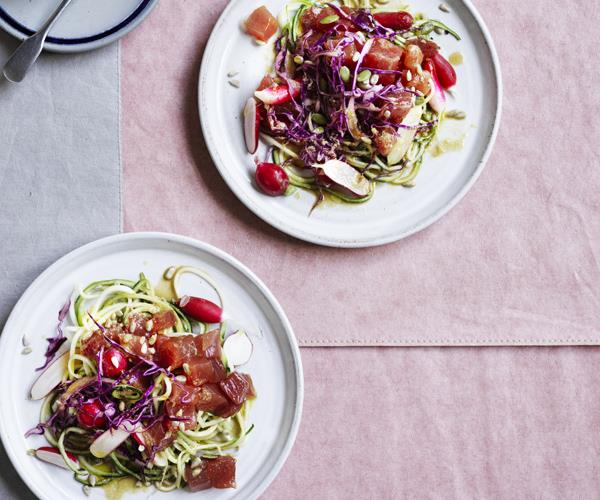 "**[Tuna salad with zucchini, radish and sesame dressing](https://www.gourmettraveller.com.au/recipes/browse-all/tuna-salad-with-zucchini-radish-and-sesame-dressing-16614|target=""_blank"")**"