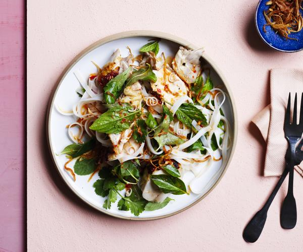 "[Grilled chicken and rice noodle salad](https://www.gourmettraveller.com.au/recipes/browse-all/grilled-chicken-and-rice-noodle-salad-16615|target=""_blank"")"