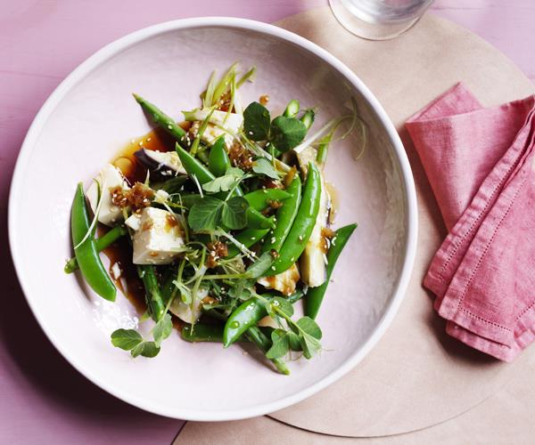 Eggplant, tofu and sugarsnap peas with ginger and soy dressing