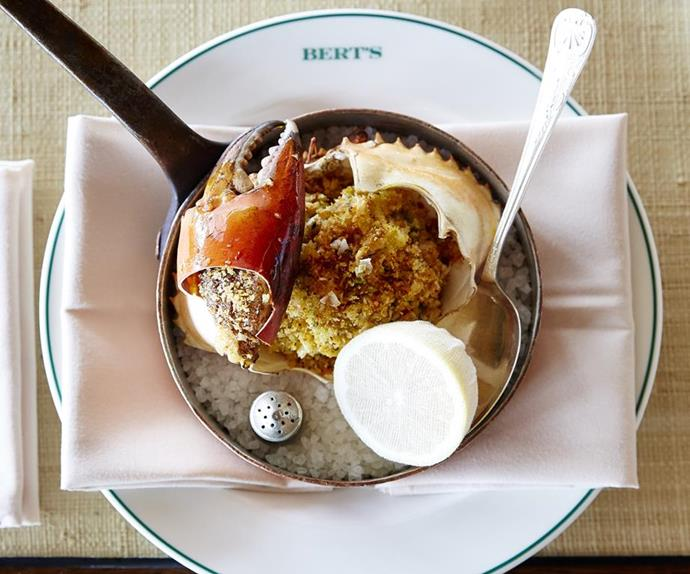 Hand-picked mud crab roasted Basque style at Bert's