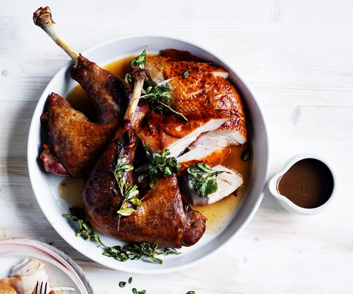 "[**Roast turkey with native herbs and spices**](https://www.gourmettraveller.com.au/recipes/chefs-recipes/roast-turkey-with-native-herbs-and-spices-16627|target=""_blank"") Jock Zonfrillo of Adelaide's Orana knows how to do good turkey. Adding aniseed myrtle, mountain pepper and native thyme for an Australian twist on the classic main."