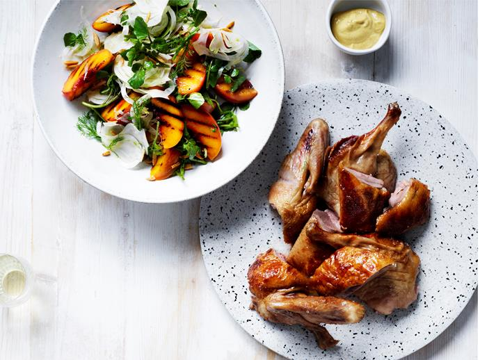 "[**Roasted mustard-glazed duck with peach, fennel and almond salad**](https://www.gourmettraveller.com.au/recipes/chefs-recipes/roasted-mustard-glazed-duck-with-peach-fennel-and-almond-salad-16621|target=""_blank"") Why glaze a ham this Christmas when you can try a classic mustard glaze on roast duck and unlock whole new levels of flavour? [Aria Brisbane's](https://www.gourmettraveller.com.au/dining-out/restaurant-reviews/aria-brisbane-6682