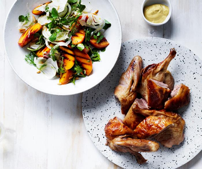 Roasted mustard-glazed duck with peach, fennel and almond salad