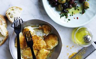 Golden-fried haloumi and olives