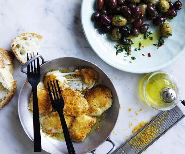 "**[Golden fried haloumi and olives](https://www.gourmettraveller.com.au/recipes/fast-recipes/fried-haloumi-olives-16683|target=""_blank"")**"