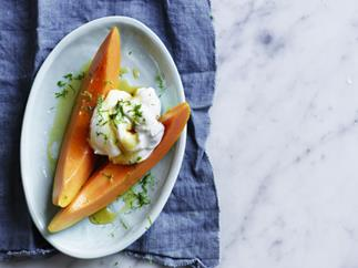 Red papaya with sheep's milk yoghurt