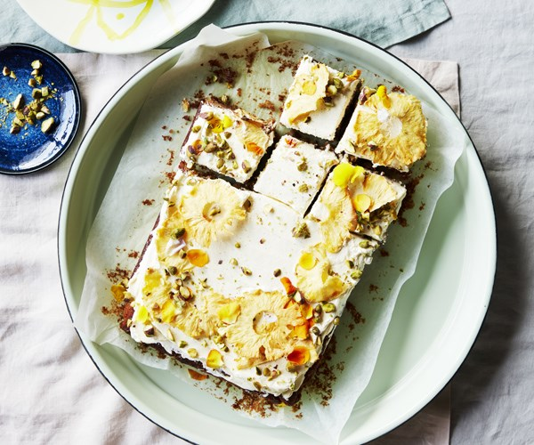 """[**Pineapple and coconut cake**](https://www.gourmettraveller.com.au/recipes/browse-all/pineapple-and-coconut-cake-16729