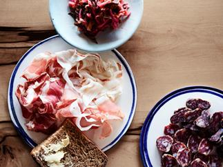 Seasonal mixed kraut with charcuterie