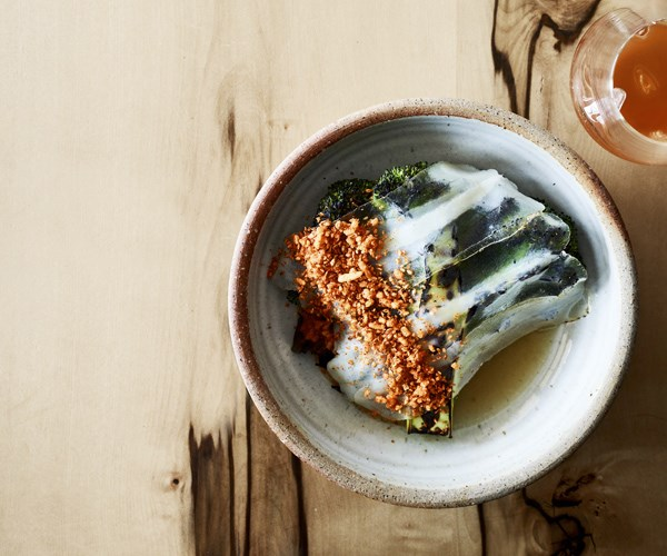 """[**Charred broccoli, pork broth and lardo**](https://www.gourmettraveller.com.au/recipes/chefs-recipes/charred-broccoli-pork-broth-lardo-16739